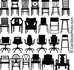 svart, stol, sätta, silhuett