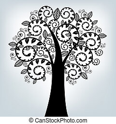 svart, stylized, träd