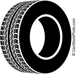 svart, symbol, vektor, terräng, däck