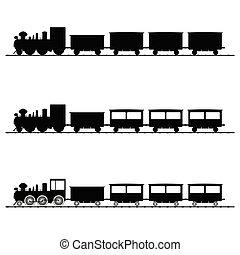 svart, tåg, vektor, silhuett, illustration