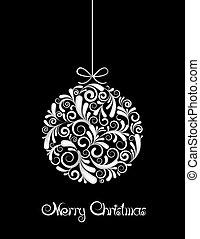 svarting kula, vit jul, bakgrund.