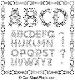 swirly, alfabet, calligraphic