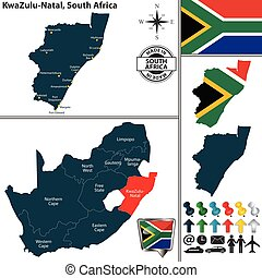 syd, zulu, fördelse, afrika, karta, kwa