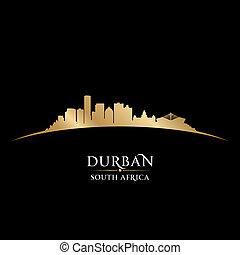sydafrika, svart fond, horisont, stad, silhuett, durban