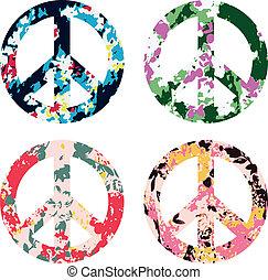symbol, blomma, frid signera