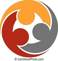 symbol, mänsklig, gemenskap, runda