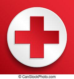 symbol, medicinsk, vektor, bistånd, knapp, första