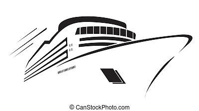 symbol, vektor, yacht, illustration