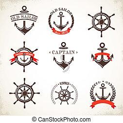 symboler, årgång, sätta, nautisk, ikonen