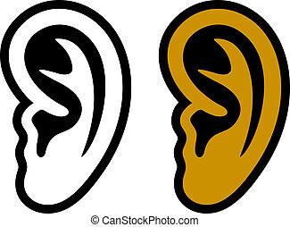 symboler, öra, mänsklig, vektor
