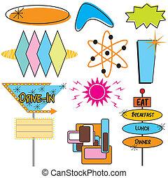 symboler, annonsering, retro, undertecknar