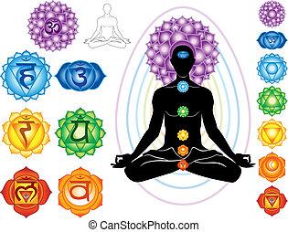 symboler, chakra, silhuett, man