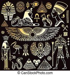 symboler, egypten, isolerat, sätta, vektor