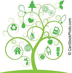 symboler, ekologi, träd, spiral
