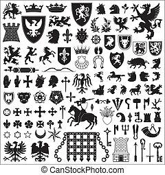 symboler, elementara, heraldisk