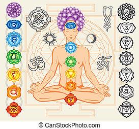 symboler, esoterisk, silhuett, chakras, man