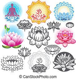 symboler, lotusar, sätta, esoterisk