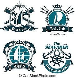 symboler, nautisk, flotta, retro
