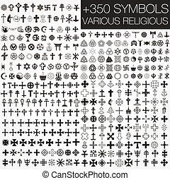 symboler, olika, 350, vektor, religio
