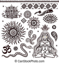 symboler, ornamental, sätta, indisk, elementara