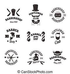 symboler, shoppar, vektor, barberare, set.