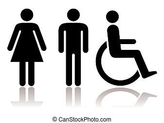 symboler, toalett, handikappad