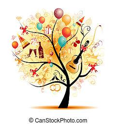 symboler, träd, lycklig, firande, helgdag, rolig