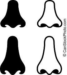 symboler, vektor, näsa, mänsklig