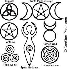 symboler, wiccan, sätta