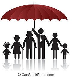 täcka, silhouettes, paraply, familj, under