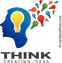 tänkande, symbol, imagination., skapande, hjärna, vektor, logo