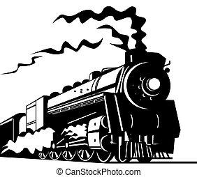 tåg, ånga