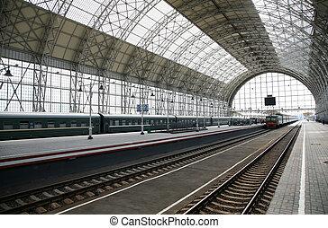 tåg, station, ankommer
