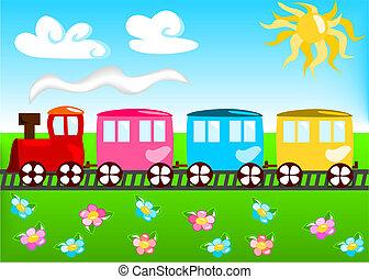 tåg, tecknad film, illustration