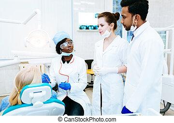 tålmodig, dental, blandras, hälsa, clinic., lag, concept.