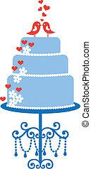 tårta, fåglar, vektor, bröllop