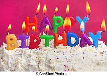 tårta, födelsedag, lycklig