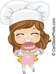 tårta, litet, bakning, flicka