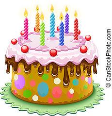 tårta, vaxljus, födelsedag, brännande