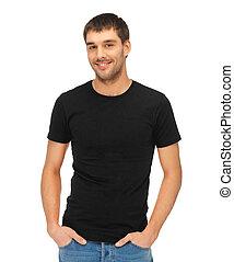 t-shirt, man, svart, tom