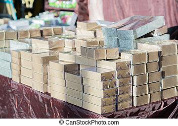 tabell., kartong, kolli, stack, rutor