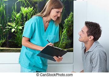 tagande, möte, tandläkare, man