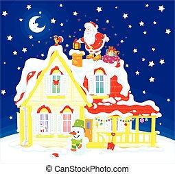 taktopp, gåvor, jultomten