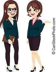 talande, affärskvinnor, stående