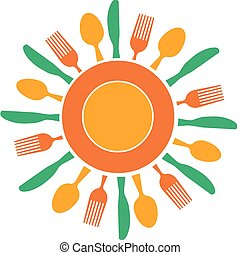 tallrik, gaffel, sol, organiserad, gul, kniv, lik