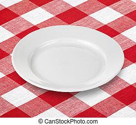 tallrik, gingham, röd bordsduk, vit, tom