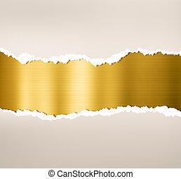 tallrik, guld, sönderrivet, metall, papper, bakgrund