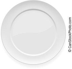 tallrik, vit, middag, tom