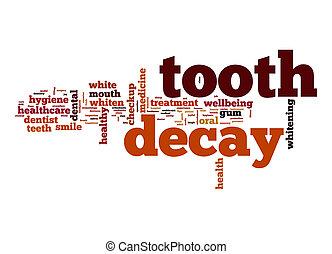 tand, ord, moln, förfalla