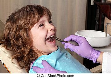 tandläkare, tålmodig, barn